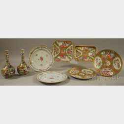 Five Chinese Export Porcelain Plates, a Tray, and a Pair of Bottles