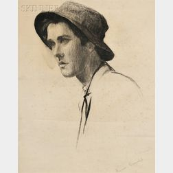 Circle of Thomas Cowperthwaite Eakins (American, 1844-1916)      Portrait Study of a Young Man with Hat, Probably Samuel Murray