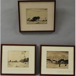 Chauncey Foster Ryder (American, 1868-1949)      Three Framed Etchings: The Fry Farm, Wilton Village Farm