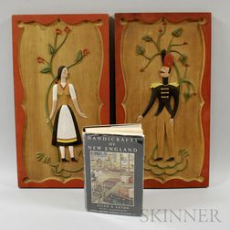 Pair of Relief-carved Polychrome Figural Plaques and a Book