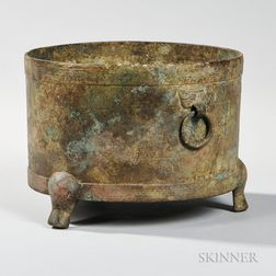 Archaic Bronze Tripod Vessel
