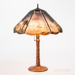Handel Reverse-painted Glass Lamp