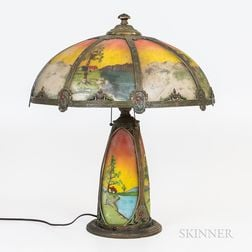 Bronzed Metal Overlay and Reverse-painted Glass Table Lamp