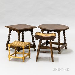 Two Footstools and Two Side Tables