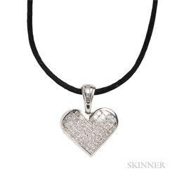 18kt White Gold and Diamond Heart Pendant