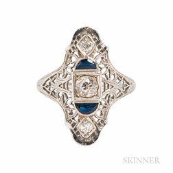 Art Deco 18kt White Gold and Diamond Filigree Ring