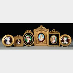 Six Framed Enamel on Copper Portrait Miniatures
