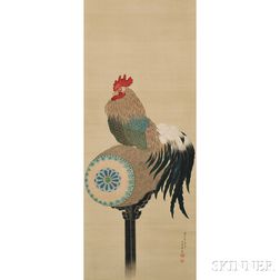 Hanging Scroll Depicting a Rooster