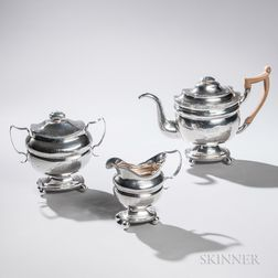 Assembled Three-piece Coin Silver Tea Service