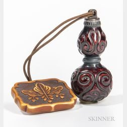 Carved Lacquered Wood Ink Bottle
