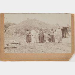"Albumen Photograph of Pawnee ""Sitting Bull"" Family and Residence"