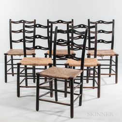 Set of Six Black-painted Ribbon-back Side Chairs