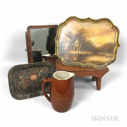 Cricket Stool, Shaving Mirror, Two Paint-decorated Trays, and a Pitcher.     Estimate $200-250