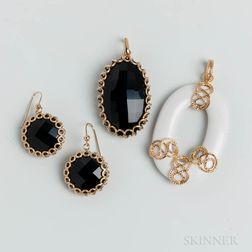 14kt Gold-mounted White Hardstone Pendant and a 14kt Gold and Onyx Pendant and Earring Set