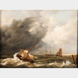 School of Hermanus Koekoek (Dutch, 1815-1882)      Coastal Vessels in a Squall