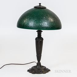 Bronzed Metal and Glass Table Lamp