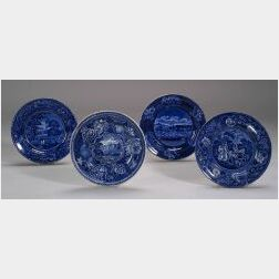 Four Blue and White Transfer Decorated Staffordshire Plates