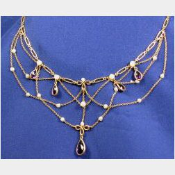 Art Nouveau 14kt Gold, Amethyst and Seed Pearl Festoon Necklace