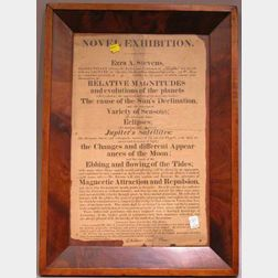 Framed Ezra Stevens Astronomy and Related Science Lecture Broadside