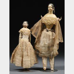Two Papier-mache Lady Dolls