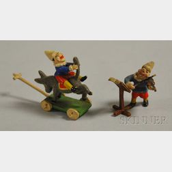 Austrian Miniature Cold-painted Bronze Clown with Violin and Sheet Music Figure and   a Clown on Pull-toy Donkey Figure