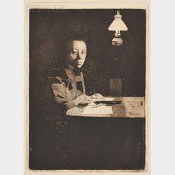 Käthe Kollwitz (German, 1867-1945)      Selbstbildnis am Tisch