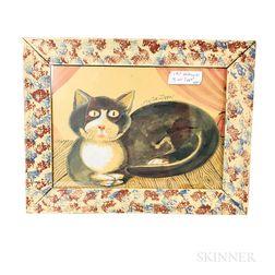 Framed Folk Art Watercolor My Cat Zippo!