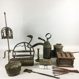 Group of Wrought and Sheet Iron and Tin Hearth Items.