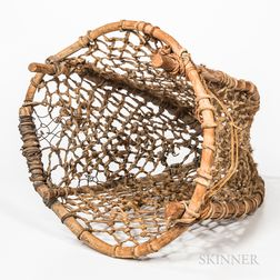 Large Bentwood and Hide Burden Basket