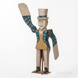 Carved and Painted Pine Uncle Sam Whirligig