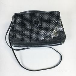 Fendi Black Woven Leather Handbag