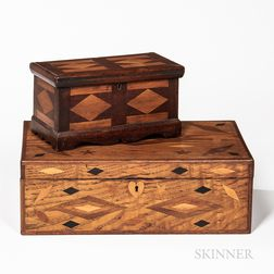 Two Geometric Inlaid Wood Boxes