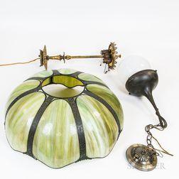 Art Nouveau-style Paneled Slag Glass Hanging Light
