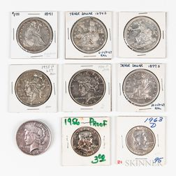 Small Group of Dollars and Half Dollars