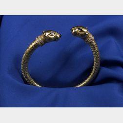 18kt Gold and Gem-set Panther Bangle Bracelet