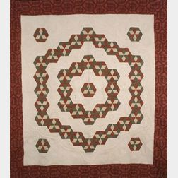 Pieced Cotton Hexagon Medallion Quilt