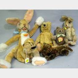 Six Stuffed Mohair Animals