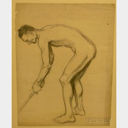 Edmund Quincy (American, 1903-1997)      Academic Study of a Man with Golf Stick
