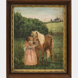 American School, 19th Century       Portrait of a Girl and Horse