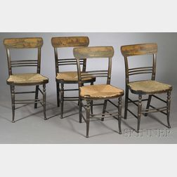 Set of Four Fancy-painted Chairs