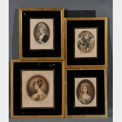 British School, 19th/20th Century      Four Framed Portraits.