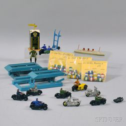 Group of Meccano Dinky Toys Metal Motorcycles, a Cruise Ship, and Accessories