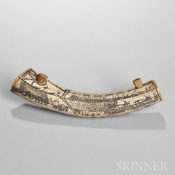 Eskimo Scrimshaw Wood and Antler Snuff Container