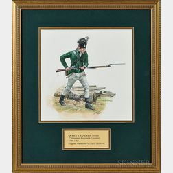 Original Don Troiani Watercolor Figure Study of a Private in the Queen's Rangers