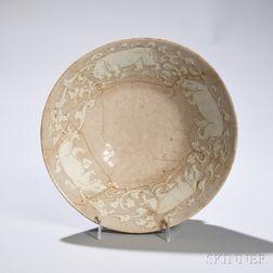 Large Beige-glazed Bowl with Hippopotamuses