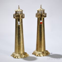 Pair of Cast Brass Lighthouse-form Lamps