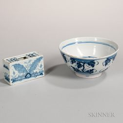 Blue and White Delft Flower Brick and Punch Bowl