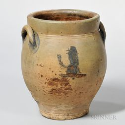 Early Incised and Cobalt-decorated Temperance-themed Stoneware Jar