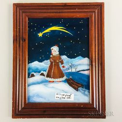 Framed Jana Vinopal Reverse-painted Glass Winter Figural Scene