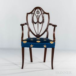 Federal Carved Mahogany Shield-back Armchair